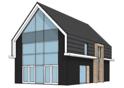Moderne woning met mansardekap en vide