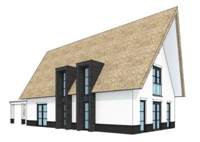 Eigentijds landelijke villa met toelopende dakpunten