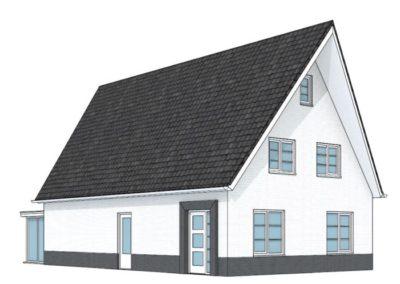 Modern witte woning met schuin toelopende kap