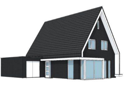 Moderne woning met mansardekap aan één kant tot peil
