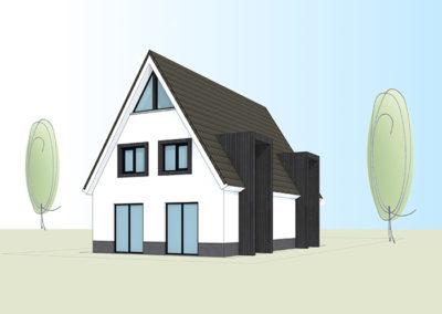Eigentijdse witte woning met moderne glaselementen