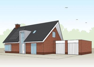 Eigentijdse woning met schuin toelopende dakpunten en statige schoorsteen