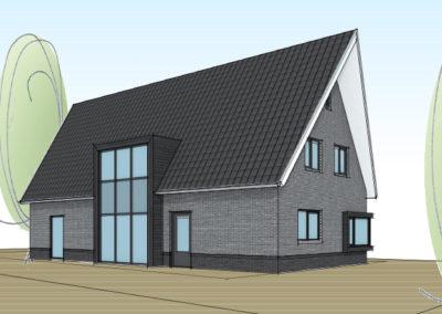 Eigentijdse woning met donkere kozijnen en schuin toelopende dakpunten