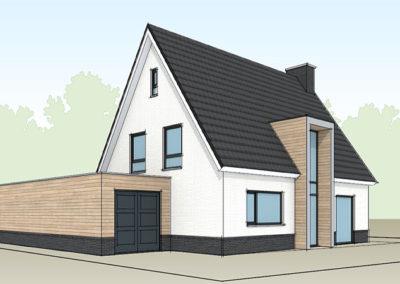 Modern eigentijdse witte villa met bijgebouw